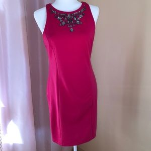 Jennifer Lopez fuchsia beaded sheath dress.